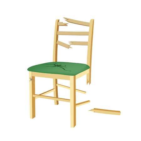 49395601 - broken wooden chair with green seat.