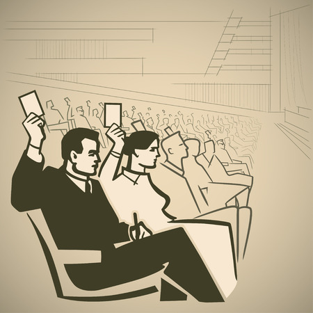 27715081 - people voting at a meeting in a large hall retro illustration